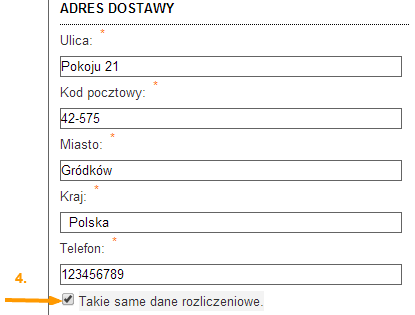 Adres dostawy DEMILITAR.PL