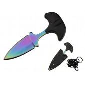 Nóż Rainbow Neck Knife na szyje tęczowy + etui